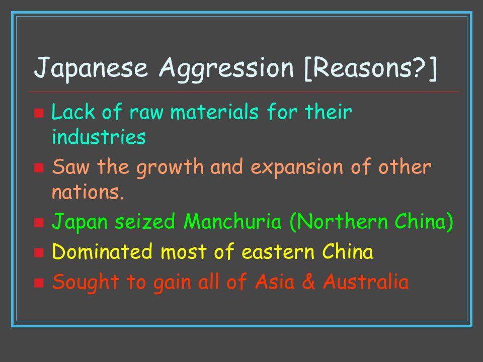 Japanese Aggression [Reasons ]